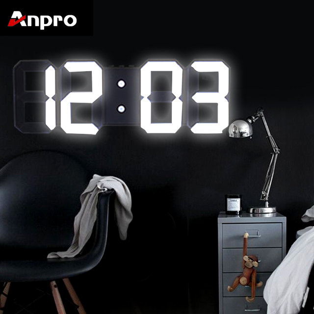 Anpro Wall-Clock Table Nightlight Display Date Time Living-Room 3D Digital Large Led title=