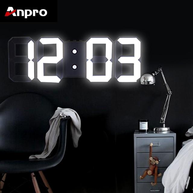 Anpro 3D Large LED Digital Wall Clock Date Time Celsius Nightlight Display Table Desktop Clocks Alarm Clock From Living Room