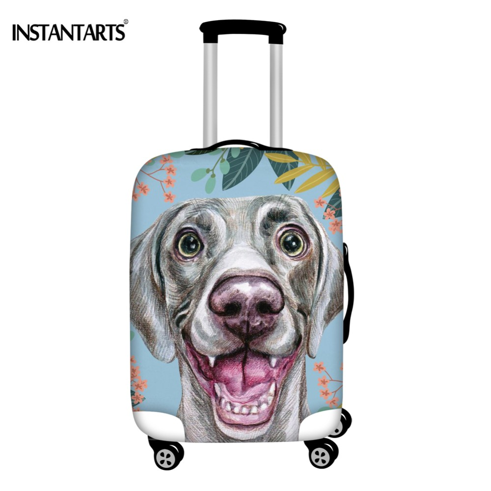 INSTANTARTS Joyful Weimaraner Dog Style Travel Trolley Luggage Protective Covers Waterproof Elastic Suitcase Covers 18-30 Inch