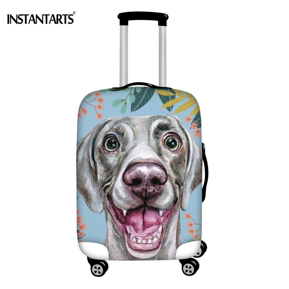 INSTANTARTS Joyful Weimaraner Dog Style Travel Trolley Luggage Protective Covers Waterproof Elastic Suitcase Covers 18-30 Inch