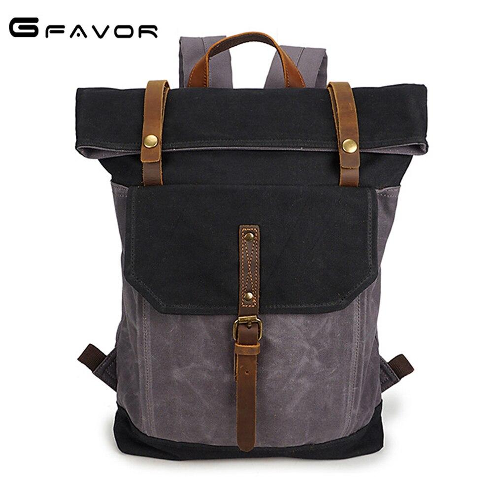 цена на G-FAVOR Vintage Men's Laptop Backpack Belt Hasp Waterproof Shoulder Bag Canvas&Crazy Horse Leather 16 inch Casual Travel Bag Men
