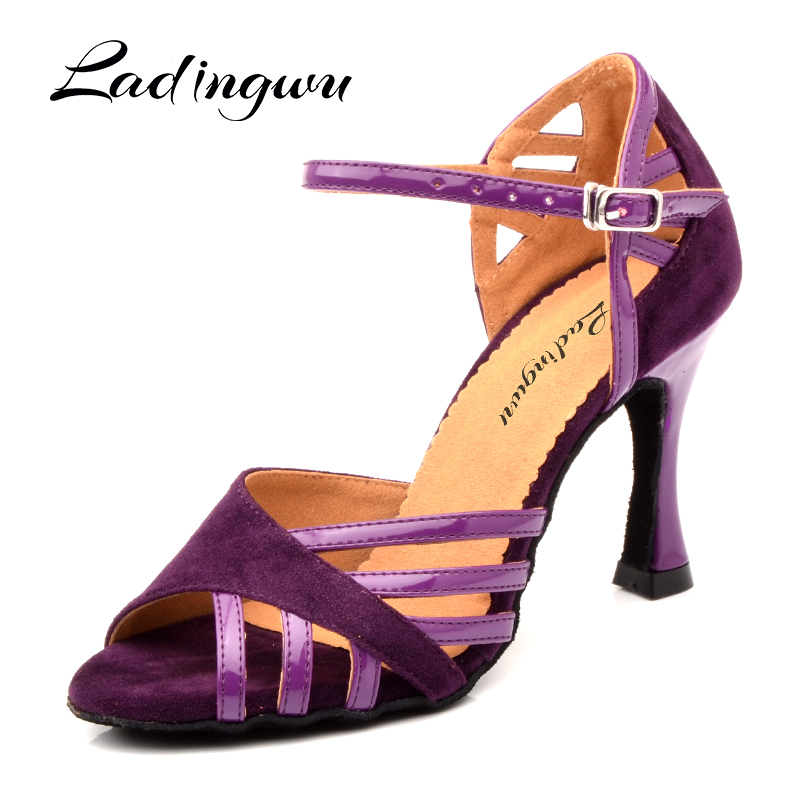 Ladingwu Latin Dance Shoes Women Suede And PU New Purple Salsa Party Ballroom Dance Shoes Cuba Heel 9cm Ladies Sneaker Dance