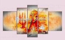 Reines Handgemaltes Modernes Abstraktes 5 Teil/satz Ölgemälde Auf Leinwand Wandkunst Dekoration Violine Wohnzimmer Wohnkultur