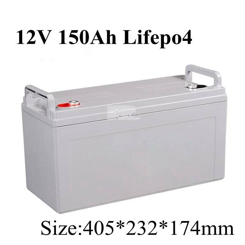 12V 150AH Lifepo4 Batterie Waterproof BMS 4S 12 8V for Golf Carts ATV Solar Storage Motorhomes
