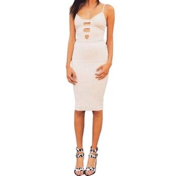 White Sexy Party Dresses Women Night Club Dress Deep V-neck Hollow Backless Summer Dress Spaghetti Strap Bodycon Dress Vestidos