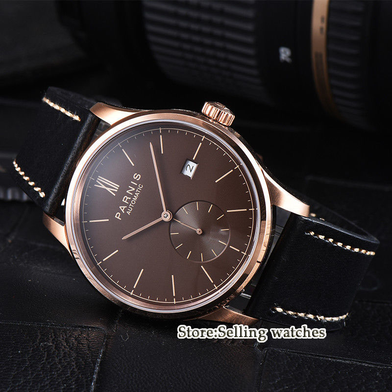 42mm parnis white dial rose golden case camel strap date ST 1731 automatic mens watch цена и фото