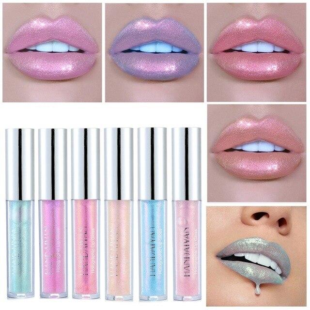 HANDAIYAN líquido brillo de labios cristal brillo láser holográfico labio tatuaje labial sirena pigmento labio Plumper brillo maquillaje TSLM2