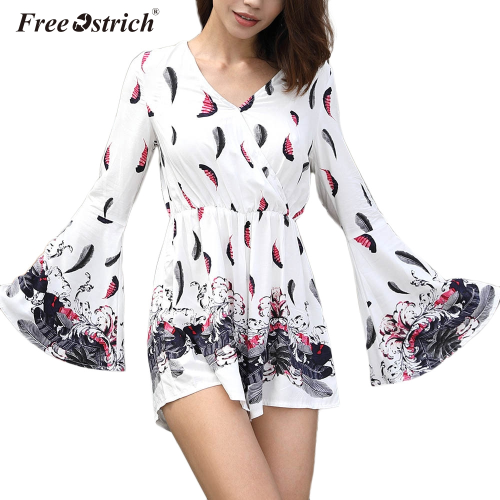 Free Ostrich Printed   jumpsuit   romper women V Neck Sexy Long Sleeve short   jumpsuit   2019 Casual summer romper macacao N30