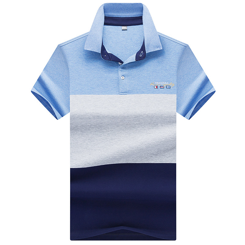 2018 Summer Men's striped color block   polo   shirts casual men's short-sleeved lapel   polo   shirt brand embroidery Men   polos