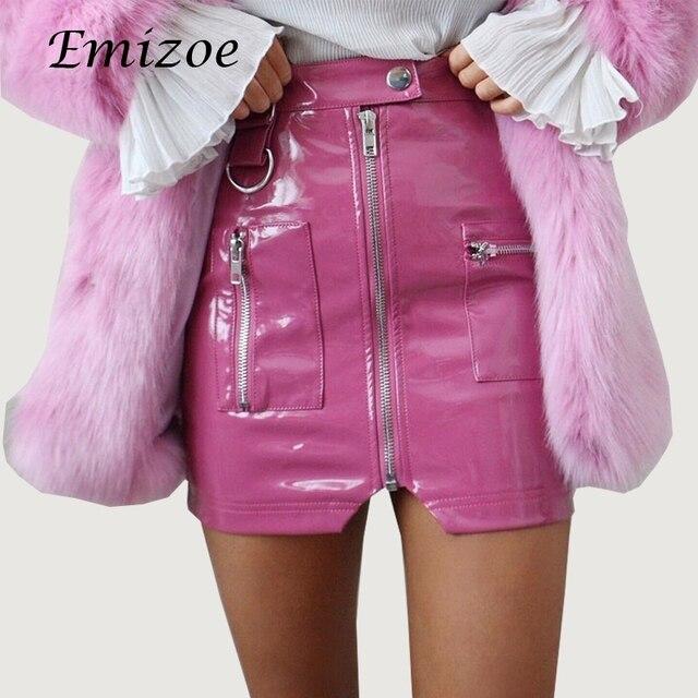 18b2becd2e1 Emizoe cute pink faux leather Skirt women new sprint PVC PU zipper mini  skirt streetwear bodycon female leather skirts bottom