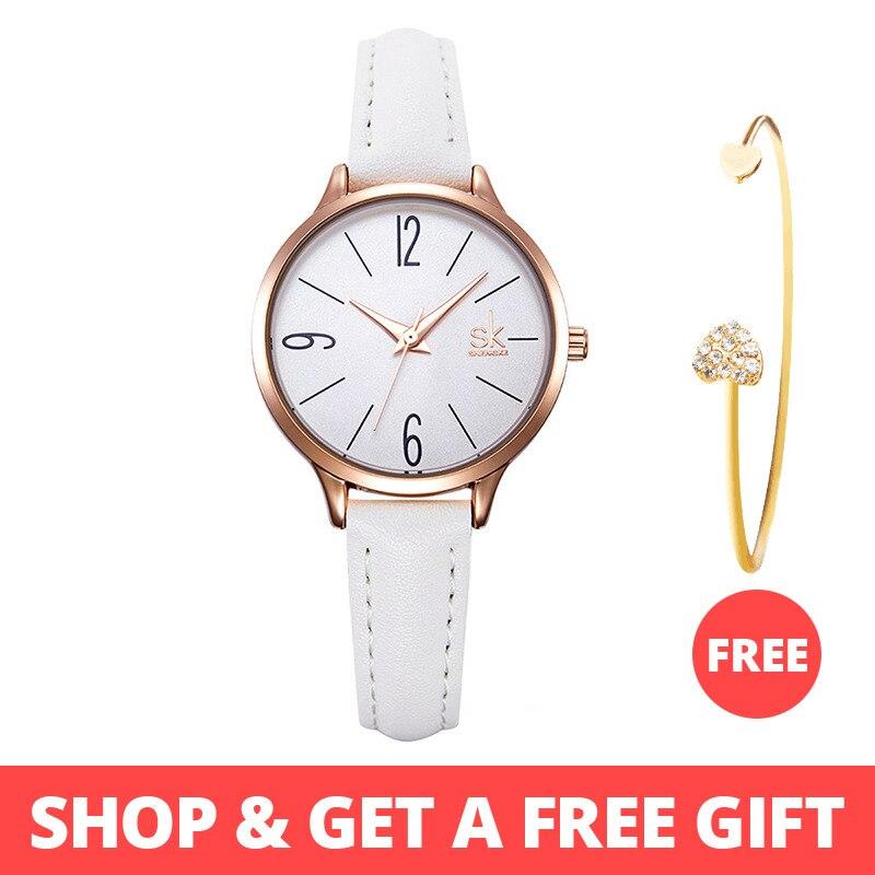 f3a60781d93e Shengke moda mujer Relojes de Cuero blanco chica pulsera Simple reloj de  cuarzo mujeres marca reloj
