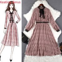 2019 Women's Pink Dress Loose Plus Size 5XL Lady Summer Lady Aristocratic Girl Wind Dress Party Long Dress Vestidos 1097