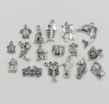 MIC 17pcs  Antique Silver Zinc Alloy Mix Animal charm pendants 17 - style xz8