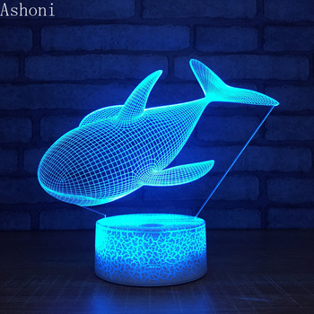 NEW Whale Shape 3D Table Lamp LED Touch 7 Color Changing Night Light Home Decor Fixture Home Decor Christmas Gifts 3d visual 7 color changing libra shape touch led night light
