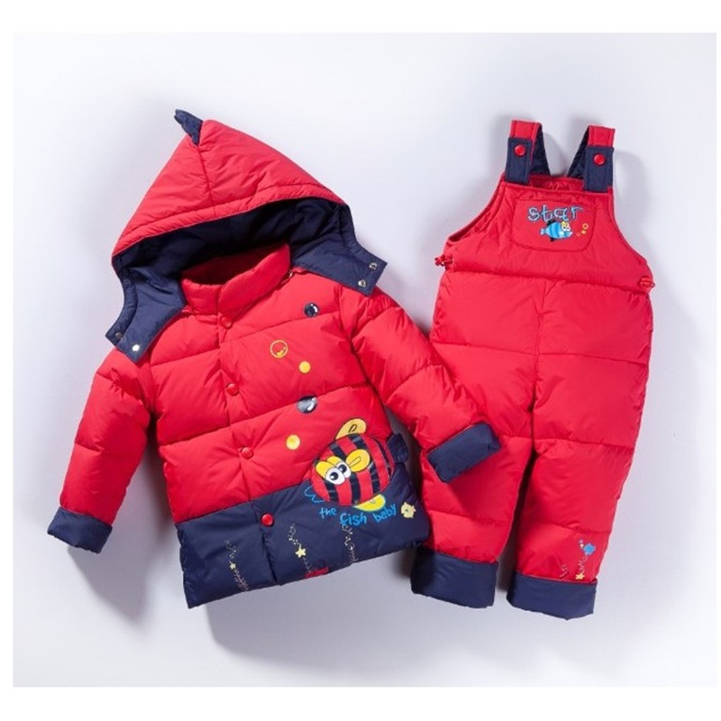 2016 winter children clothing sets duck down jacket sets pants-jacket hooded baby girls winter jacket & coat Red fish 2-5y