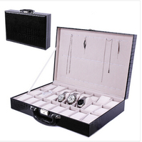 24 cell portable wood + leather dress fashion watch jewelry box case with lock key lift handle black SBH001