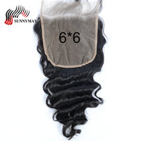 Sunnymay 6x6 Closure Brazilian Virgin Hair Loose Wave Pre Plucked Lace Frontal Closure Bleached Knots