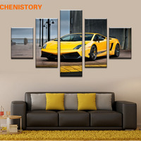Unframed 5 Panel Yellow Sport Car Modern Home Wall Decor Print Canvas Painting For Living Room