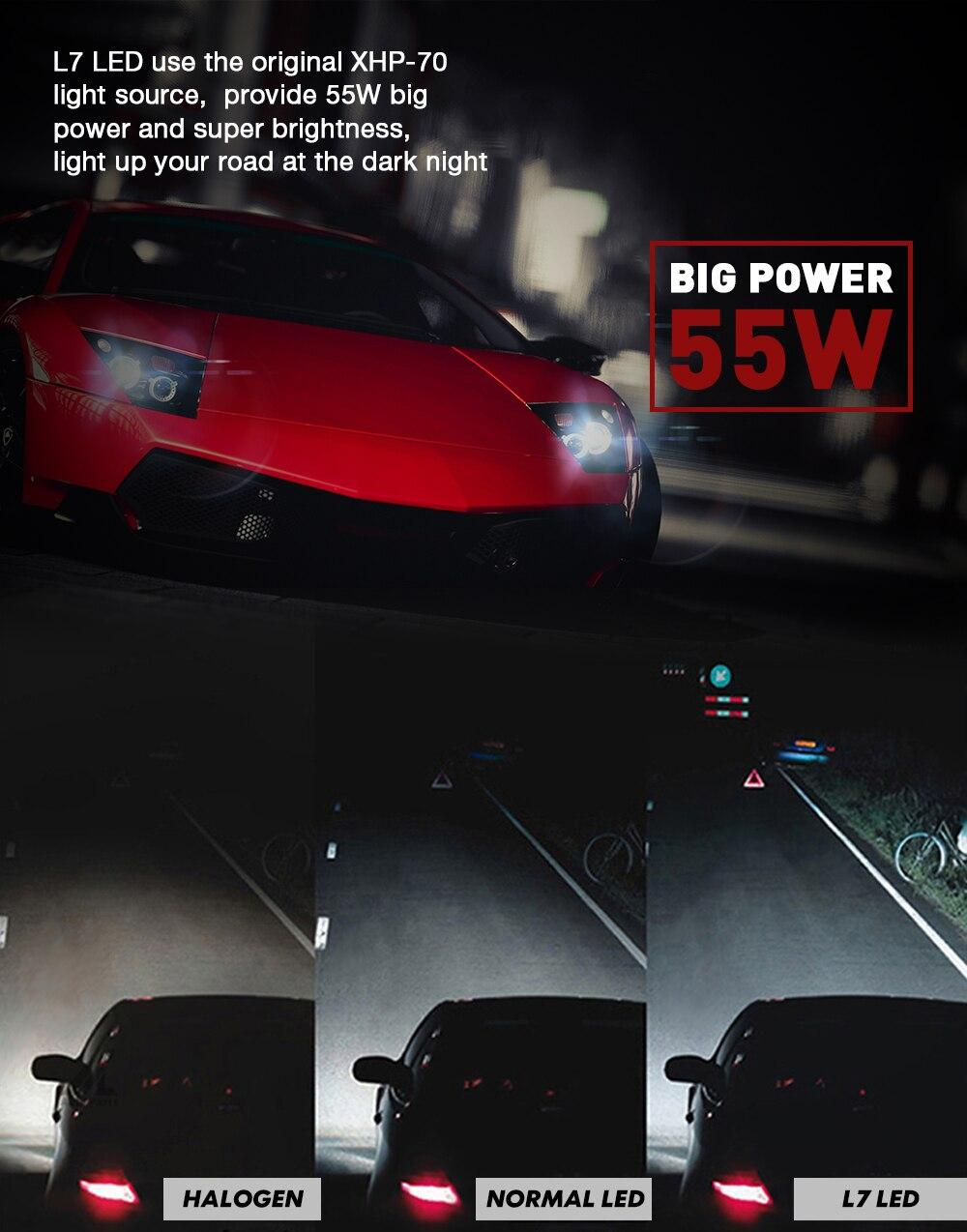 Xenplus H7 ampoule LED 110W 13200lm 12V Cree XHP70 Puces L7 phares Automatiques H4 H11 D2S HB3 HB4 9004 9007 H13 lampe lumineuse Superbe - 6