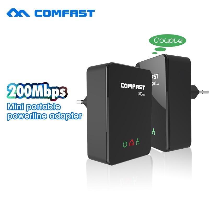 Prix pour Vente chaude Puissance ligne ethernet adaptateur extender 200 Mbps COMFAST 2.4 GHz Mini plc accueil plug réseau Powerline Adaptateur kit CF-WP200M