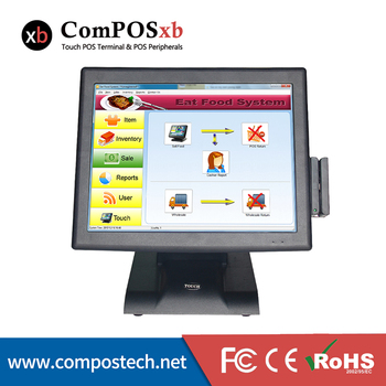Cheap 15 Inch Touch Screen POS System With Card Reader And VFD Customer Display for Restaurant pos machine