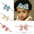 10 Pcs/lot Boutique Nylon Headband With Fabric Hair Bow For Baby Girls Hair Accessories Baby Nylon Elastic Headband