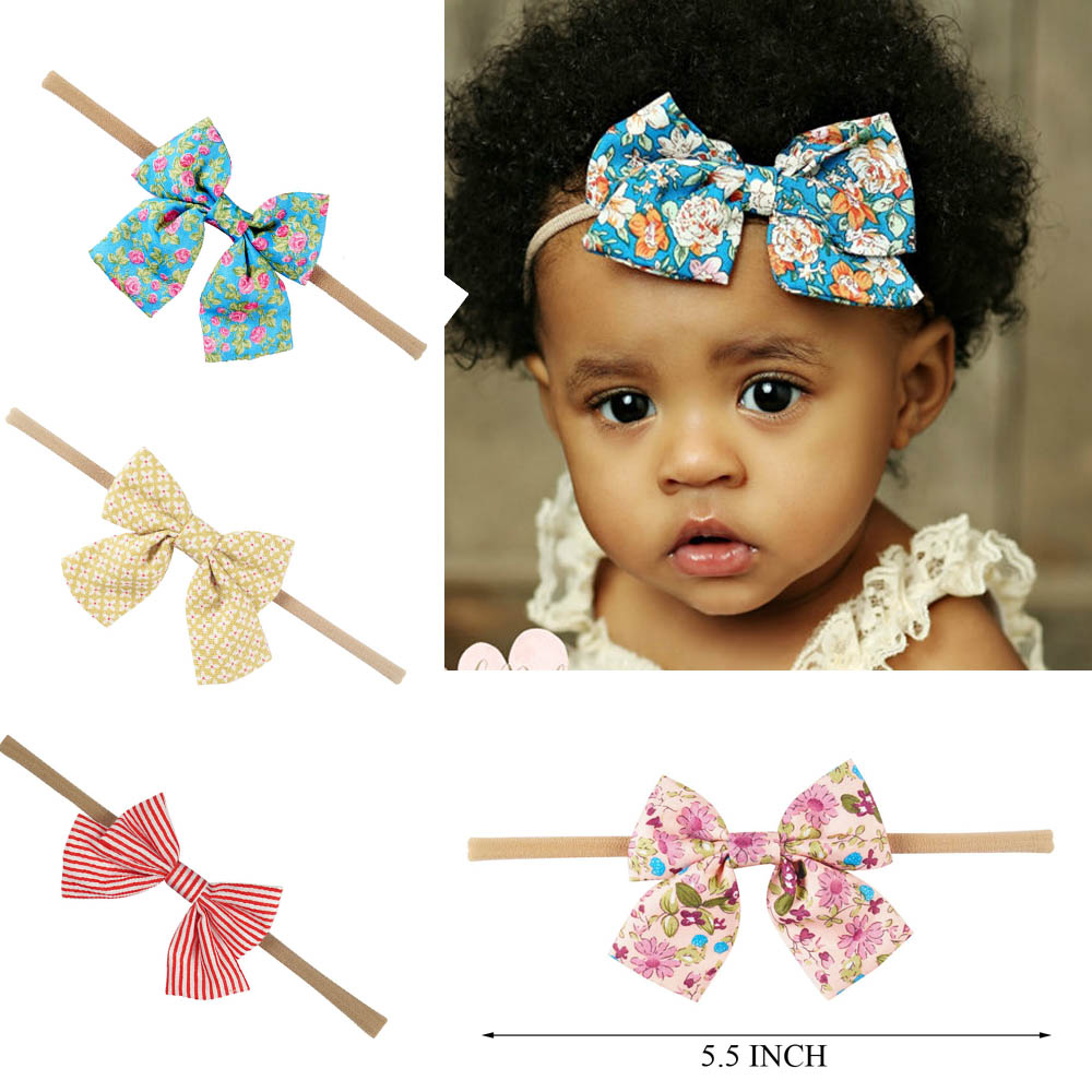 10 Pcs/lot Boutique Nylon Headband With Fabric Hair Bow For Girls Hair Accessories Kids Nylon Elastic Headband 10pcs lot bourique elastic nylon headband with fabric bow for girls hair accessories kids elastic headband