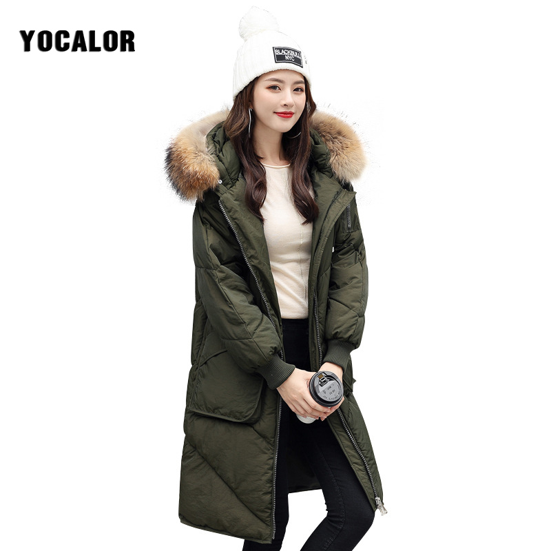2017 YOCALOR Winter Real Raccoon Fur Jacket Clothes Female Coat Women Parka Long Basic Outerwear Snow Wear Hood Free Shipping 2017 winter new clothes to overcome the coat of women in the long reed rabbit hair fur fur coat fox raccoon fur collar