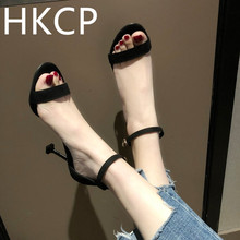 HKCP The new 2019 sandal toe word buckle with a fine black female fairies summer all-match ferret high-heeled shoes C001