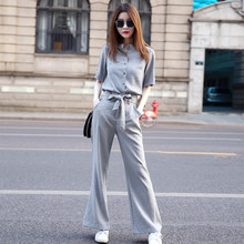 Stripe Wide Leg Pants Two Piece Set 2019 Spring Korean Blazer Sets High Waist Suit Women Casual Twinset Blouse And Pants Woman(China)