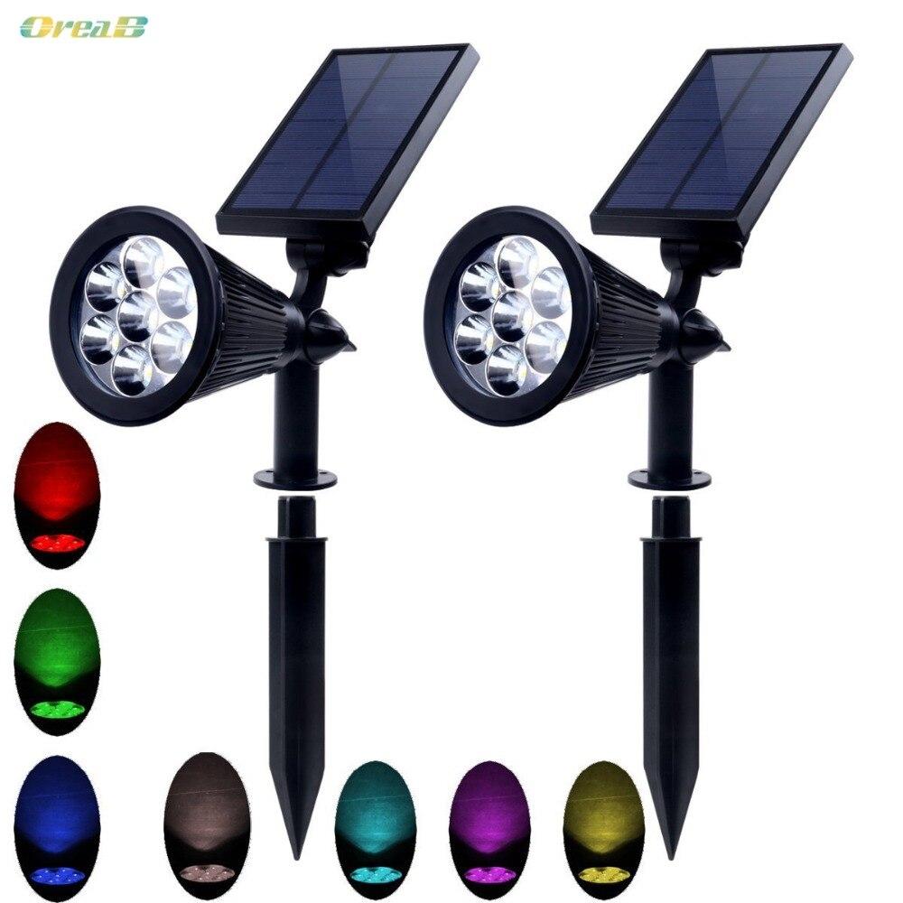 Ip65 Rvb Couleur Changeante Spot Extérieur Lumières De Chemin Solaire Pour Éclairage de Paysage de Jardin Avec 3.7 V/2200mA Batterie