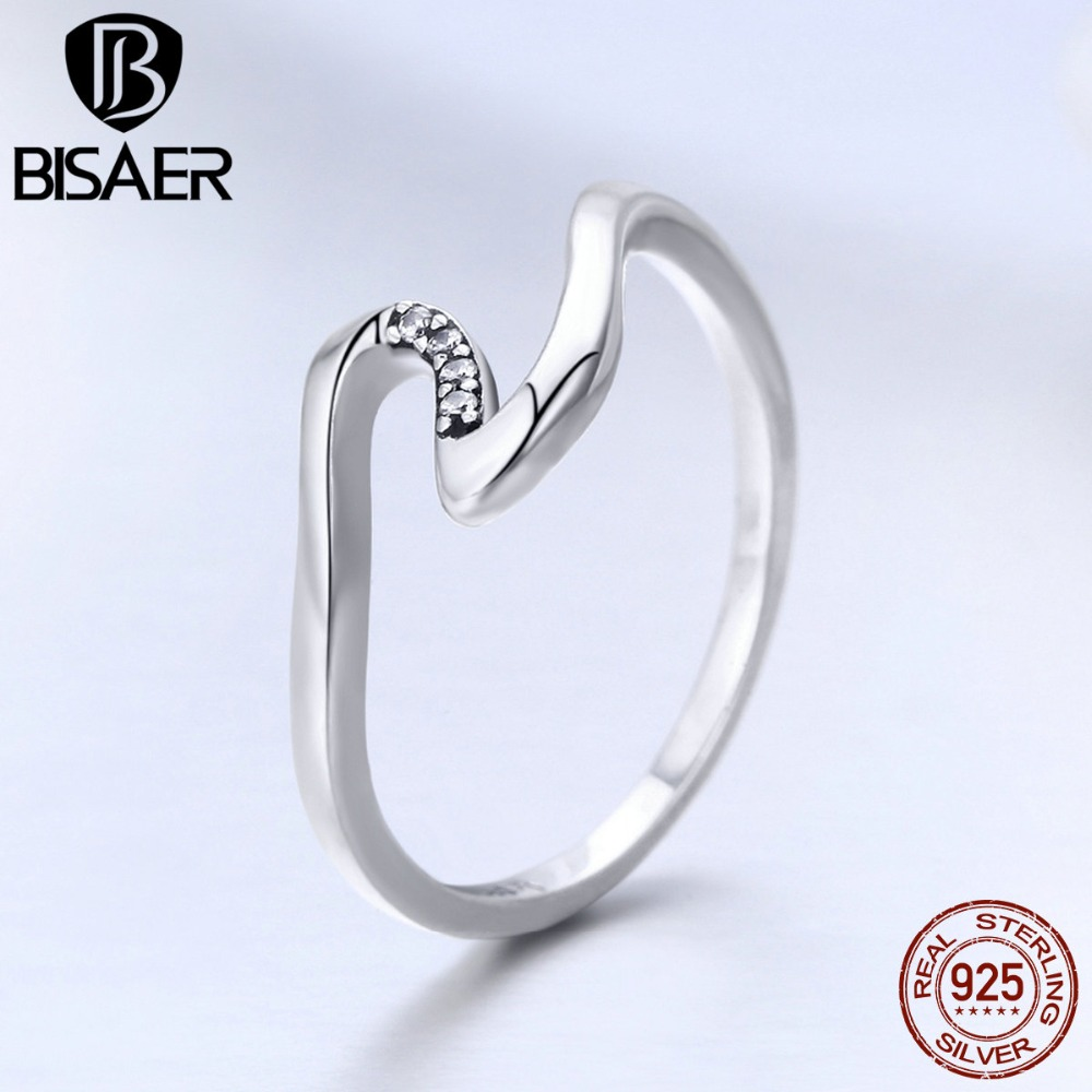 100% 925 Sterling Silver Finger Ring Geometric Wave Zircon Jewellery Wedding Ring For Women Anniversary Engagement Hsr378 Smoothing Circulation And Stopping Pains