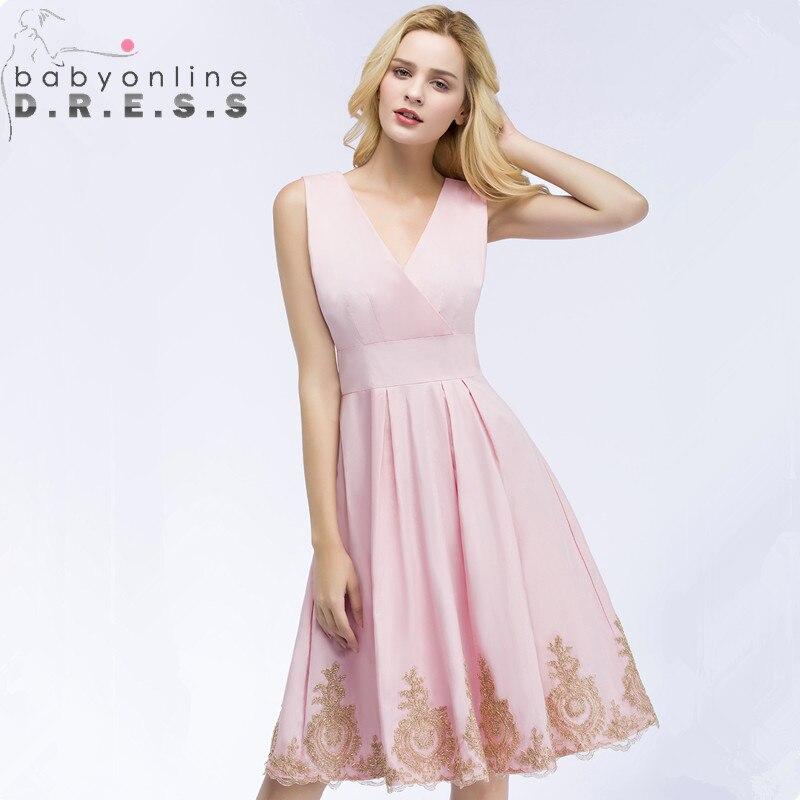 Charming Pink Burgundy Lace Short   Prom     Dresses   Cheap V Neck Tulle Knee Length Evening Party   Dresses   Vestido de Festa Curto