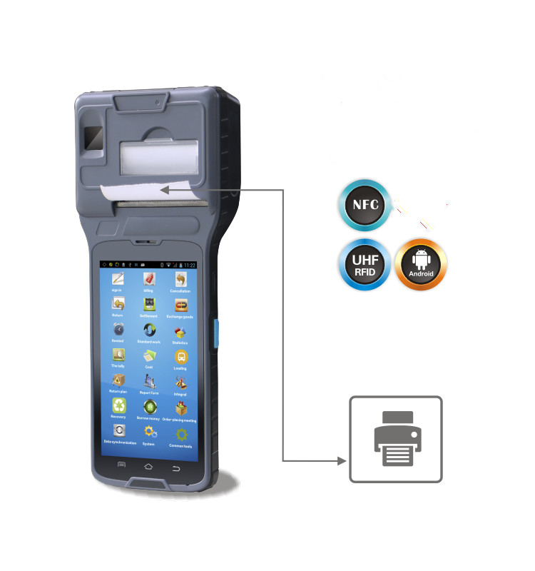 5 Inch Touch Screen Industrial Android Tablet Smart Pos Printer Terminal with Built-in RFID UHF Reader,1D Barcode Reader
