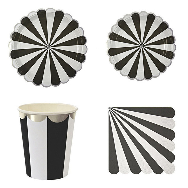 Silver Blocking Black Striped HOT Disposable Tableware Set Paper Plates Cups Napkins Party Wedding Carnival Tableware  sc 1 st  AliExpress.com & Silver Blocking Black Striped HOT Disposable Tableware Set Paper ...