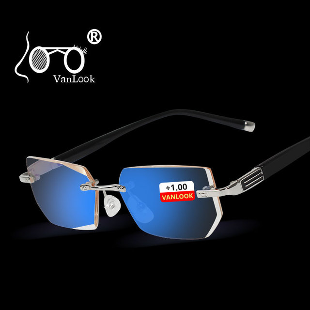Vanlook 시력 투시를위한 diop터가있는 학위 반사 방지 안경 안경의 무테 안경 + 1 1.5 2 2.5 3 3.5 4