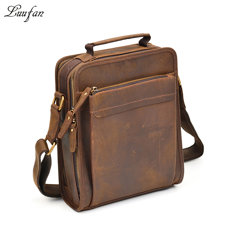 53969f064998 Mens Crazy horse leather shoulder bag double zipper Vintage genuine leather  messenger bag iPad magazine zip