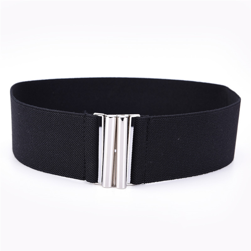 Wide Metal Hook Stretchy Elastic Waist Belt Waistband Stretchy Elastic Waist Belt Waistband Belts Silver Hook Buckle