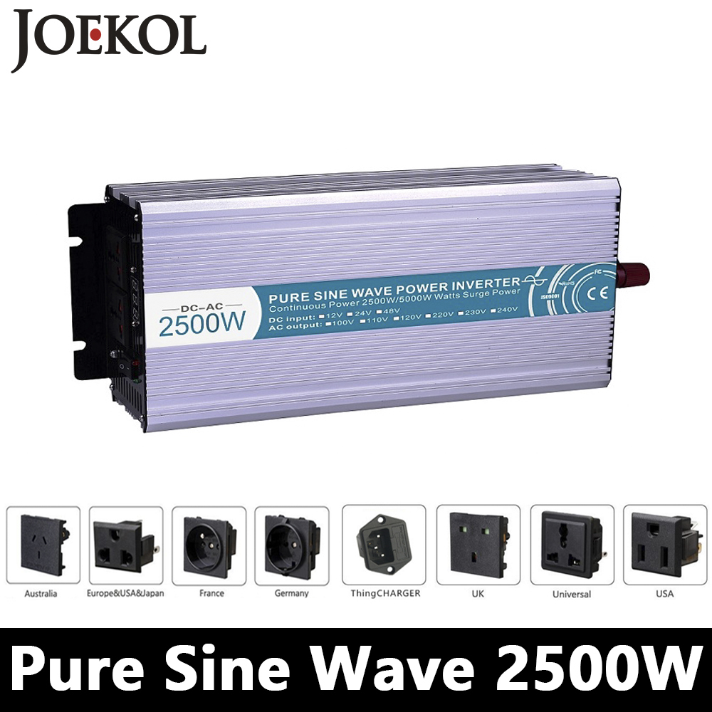 цена на Full Power 2500W Pure Sine Wave Inverter,DC 12V/24V/48V To AC 110V/220V,off Grid Power Inverter Work With Solar Battery Panel