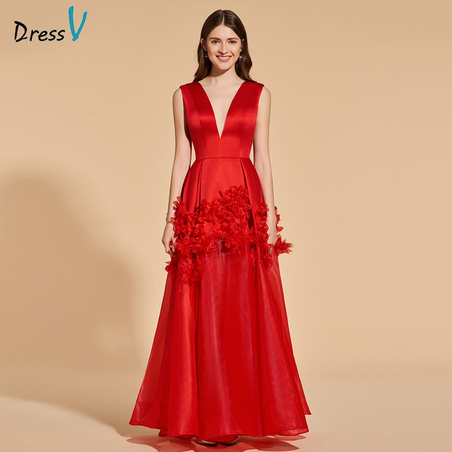 Dressv red elegant long prom dress v neck empire waist backless simple a- line appliques evening party gown prom dresses custom 0828f1de3