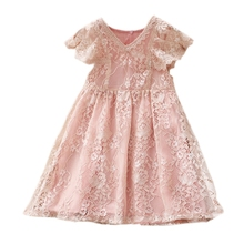 Baby Girl Dress New Summer Girls Clothes Lace Flower Fly Sleeve V-Neck Dress Princess Baby Girl Dresses Party Travel Holiday C v tree flower girl dresses long sleeve baby dress princess dress for girls children dress age 10 12 teenager clothes