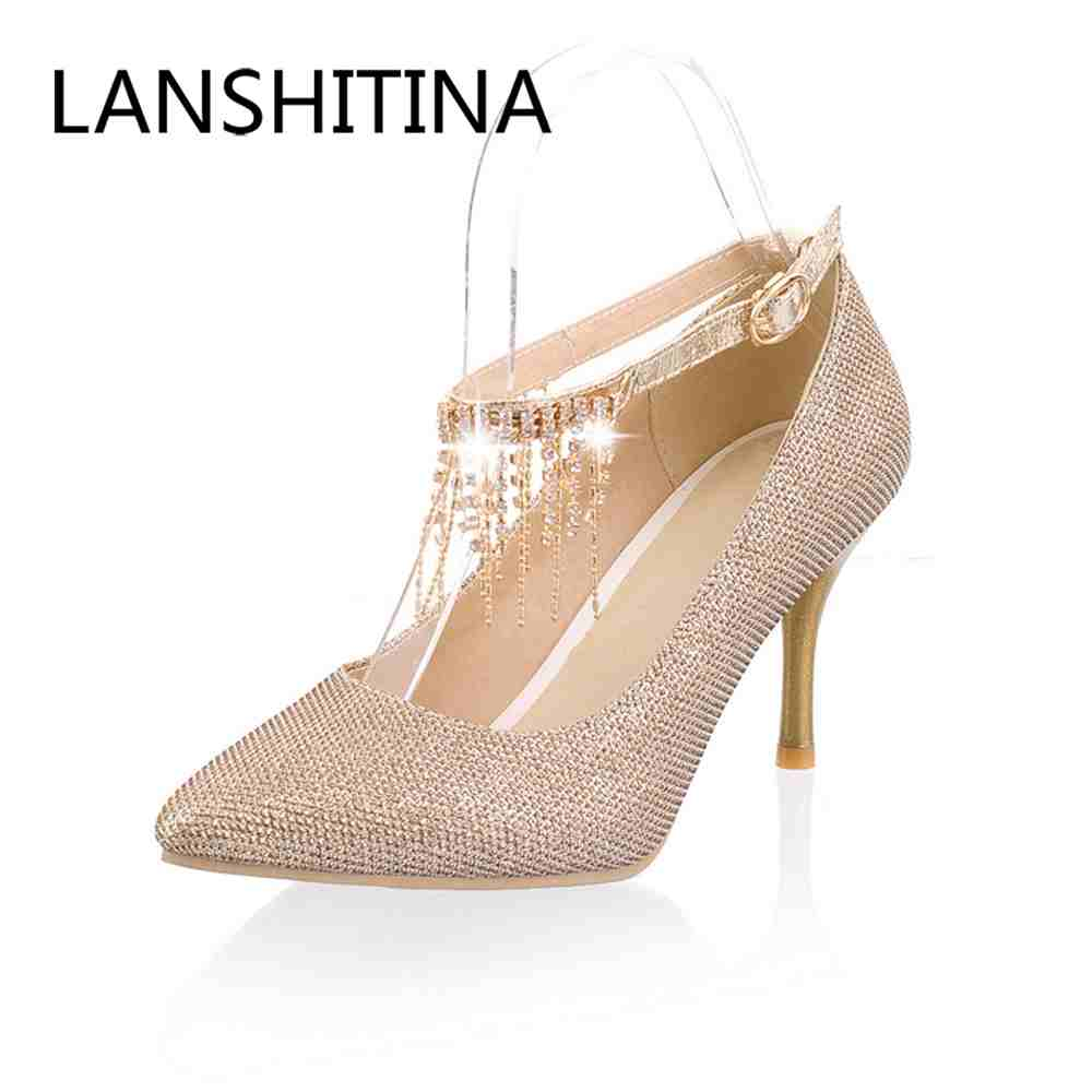 Fashion Crystal Metal Decoration women shoes pumps Elegant Pointed Toe Party wedding pumps High thin heels Spring/Autumn pumps 2017 spring fashion 9 cm pointed toe high heeled shoes metal pearl decoration thin heels patent leather wedding party shoes