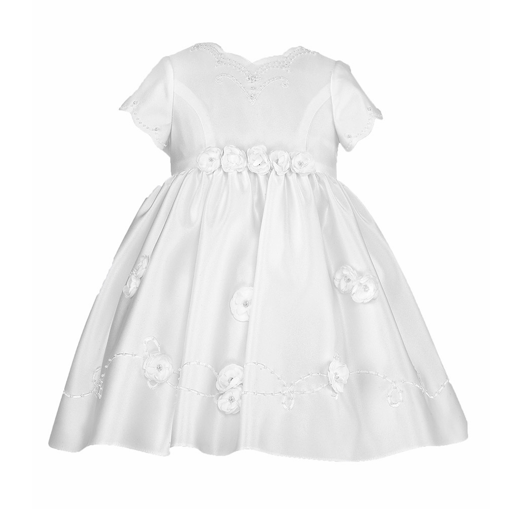 Baby Girl Christening Dresses White Solid Short Sleeves Floor Length Baby Birthday Baptism Gowns Vestido Infantil menina moncler