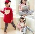 Promoção frete grátis crianças roupas meninas de algodão o pescoço completo manga A024