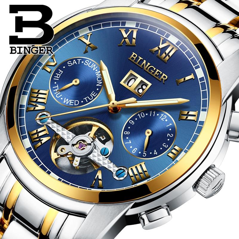 2019 Šveits Mehaaniline käekell Meeste randme safiir Binger Luksuslik brändi veekindel kellad Meeste randme safiiri relogio masculin