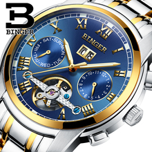 Switzerland BINGER watches font b men b font luxury brand Tourbillon sapphire luminous multiple functions font