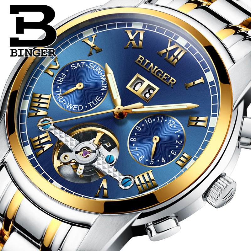 ФОТО Switzerland BINGER watches men luxury brand Tourbillon sapphire luminous multiple functions Mechanical Wristwatches B8601-10