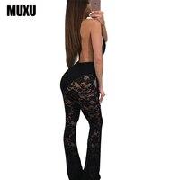 Muxu cuerpo mamelucos mujer mono traje Mono para las mujeres 2017 cuerpos mujer sexy negro Mono para las mujeres V cuello