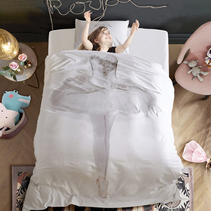 New Fabric Duvet Cover Bedding set US Queen/Twin size 3pcs/set funny ballet white home quilt cover bed set for kid children room