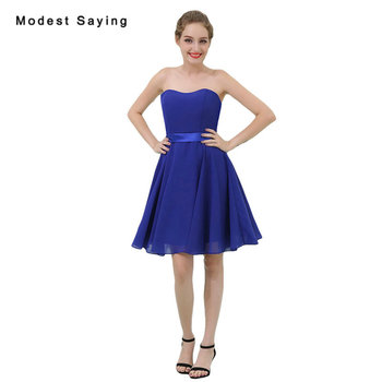 Wholesale Royal Blue A-Line Mini Chiffon Bridesmaid Dresses 2018 Girls Short Sexy Maid of Honor Party Prom Gown vestido madrinha